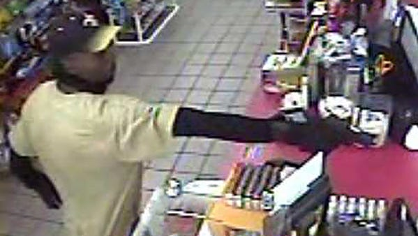 This surveillance image shows an attempted armed robbery at a Shell gas station in Clinton, Miss.