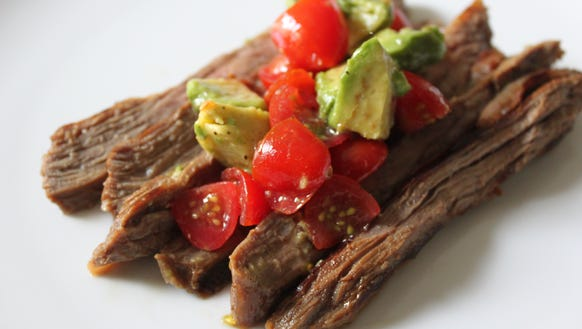 Easy As Pie) Marinated Skirt Steak With Cherry Tomato and Avocado ...