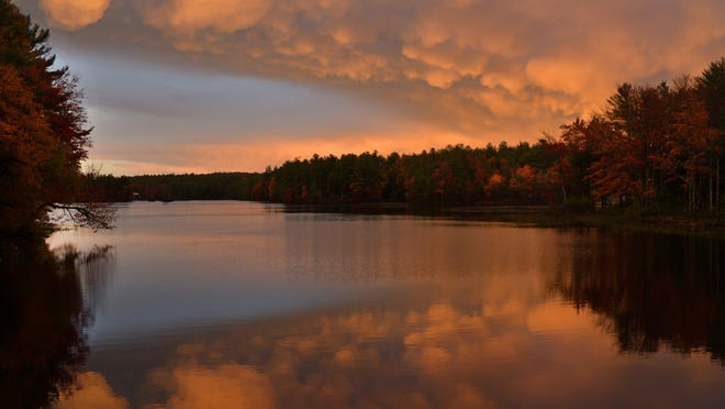 HUBBARDSTON - Mammatus clouds form over Brigham Pond after the storm Wednesday.