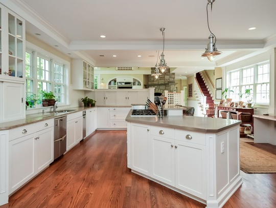 There is an updated, open kitchen in a 1928 Rye home