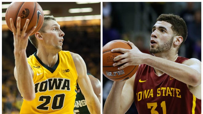 Jarrod Uthoff (left) and Georges Niang.