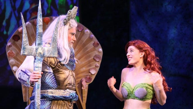 """King Triton (Scott Daniels) tries to reason with his daughter Ariel (Emma McGahan) in the Plays in the Park production of """"The Little Mermaid."""""""