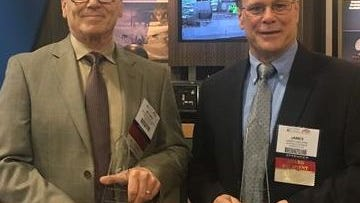 Northrop Grumman engineers Michael Panopoulos, left, and James Van Kirk were inducted Nov. 29 into the Association of Old Crows Electronic Warfare Technology Hall of Fame.