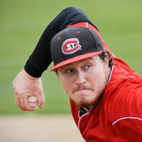 St. Cloud State pitcher Reese Gregory picks up a bunt and puts out Missouri Southern State batter Jon Davis at first base during the fourth inning May 15 at Bob Cross Park in Sauk Rapids.