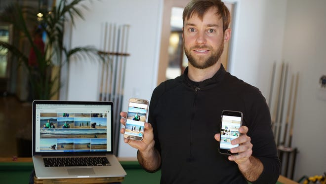 Google Photos product lead David Lieb, with the app on an iPhone, Android and the web.