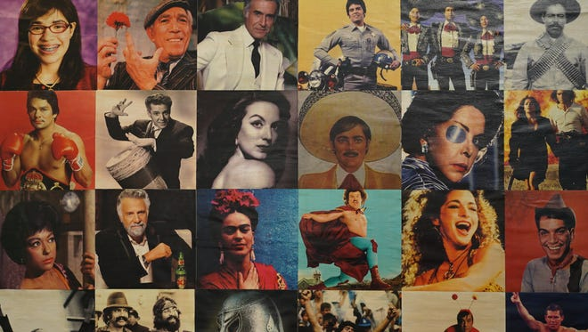 Mural of prominent Latino entertainers, on display at MiTu Network.