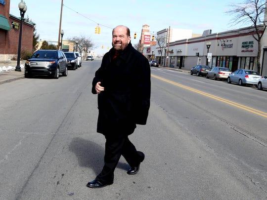 Dearborn Mayor Jack O'Reilly crosses Schaefer in Dearborn in March 2013.