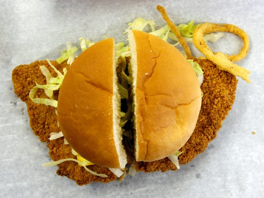 A breaded tenderloin at Smitty's Tenderloin Shop.