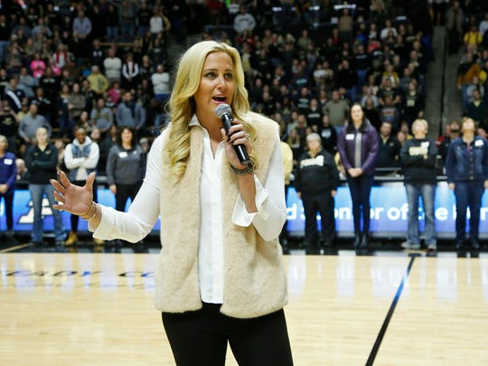Former Purdue great Katie Douglas speaks at halftime of the Boilermakers game with Indiana Sunday, January 10, 2016, at Mackey Arena. Purdue beat Indiana 63-53.