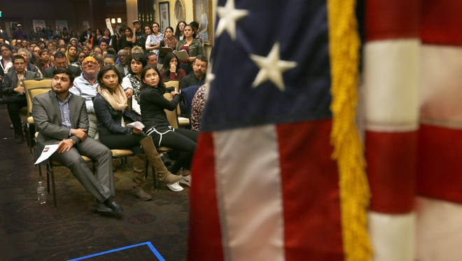 David Gamez, front left, Itzel Campos, middle, and Estefania Rubalcava listened to a presentation by U.S. Rep. Beto O' Rourke Monday at the El Paso Community Foundation. The three spoke about their experiences in coming to and growing iup in the U.S. at O'Rourke's public meeting about the future of the Development, Relief and Education for Alien Minors (DREAM) Act.