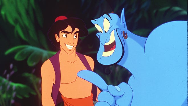 "Aladdin and Genie (voiced by Robin Williams) in Disney's original ""Aladdin."""