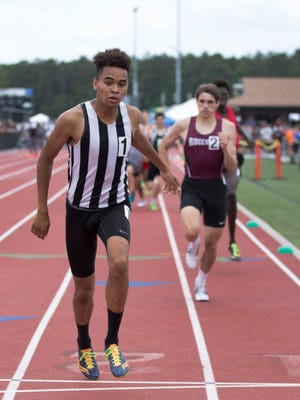 Old Bridge's Rey Rivera wins the 800 Group IV race at the State Group Championships at Egg Harbor on June 4, 2016.