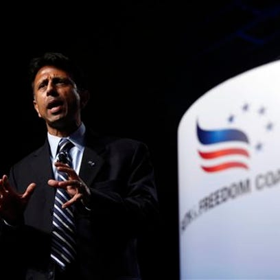 Republican presidential candidate Louisiana Gov. Bobby Jindal spoke Saturday during the Faith & Freedom Coalition fall dinner at the Paul Knapp Center in Des Moines, Iowa.