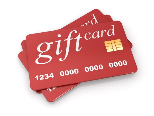 An illustration of a red gift card with micro chip