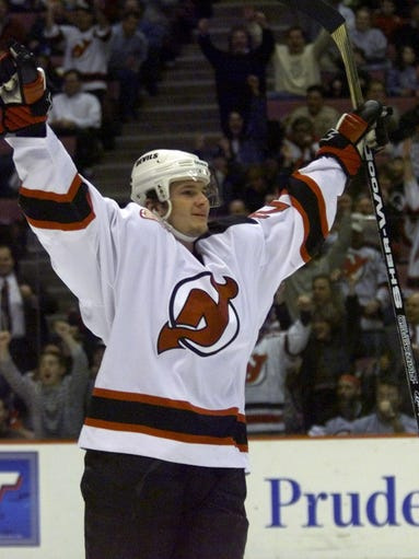 Devil Patrik Elias celebrates after scoring the Devils