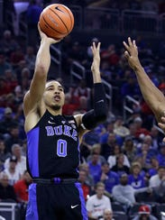 Duke forward Jayson Tatum shoots against UNLV during