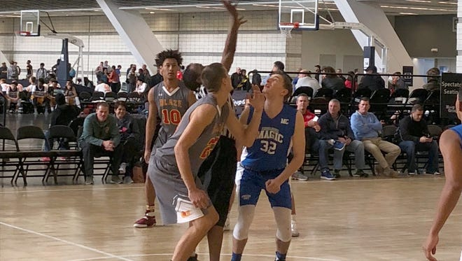 East Rockingham's Dalton Jefferson gets ready for the opening tap of the AAU Blaze's game Sunday against the Middlesex Magic of Boston at the Pittsburgh Hoop Group Jam Fest on Saturday and  Sunday at the David L. Lawrence Convention Center in Pittsburgh, Pa.