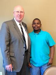 Robertson County Mayor Howard Bradley poses with Nathaniel