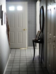 The front door and entry hallway of the Witman home.