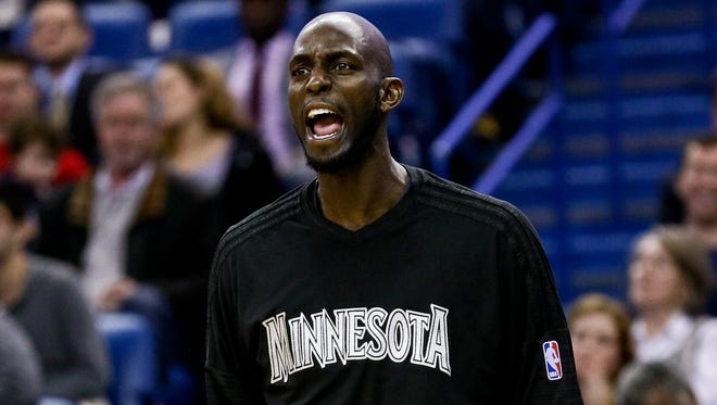 Kevin Garnett reacts from the bench during the second half of a game against the New Orleans Pelicans.