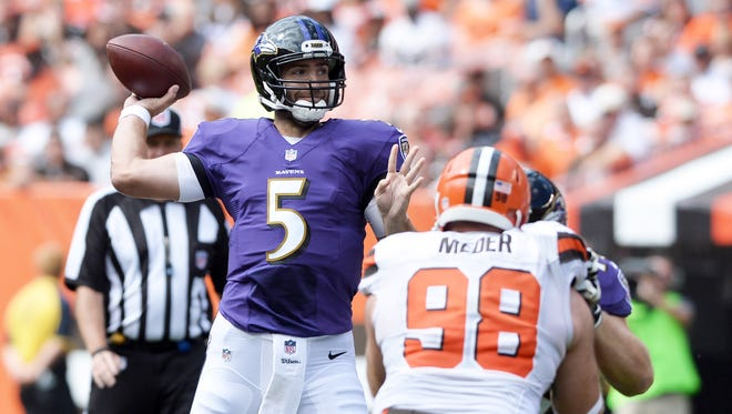 Ravens quarterback Joe Flacco threw for 302 yards and two touchdowns against Cleveland in Week 2.