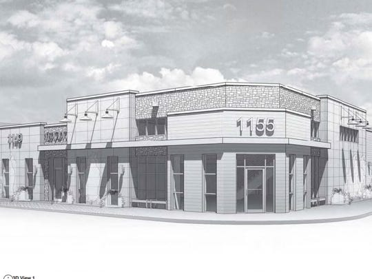 A rendering of the proposed building Cyrus Development Services wants to build and occupy at the corner of Main and Roosevelt streets.