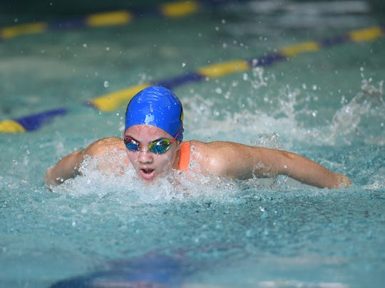 NJIC championship meet for boys and girls swimming on Saturday, February 2, 2018. Alexa Torres, of Lyndhurst, in the Girls 100 Yard Butterfly.