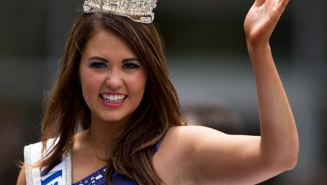 Cara Mund, Miss America 2018, as the Indianapolis 500 Festival Parade passes through downtown Indianapolis, Saturday, May 26, 2018. The mid-day parade takes place a day before the Indy 500 mile race.
