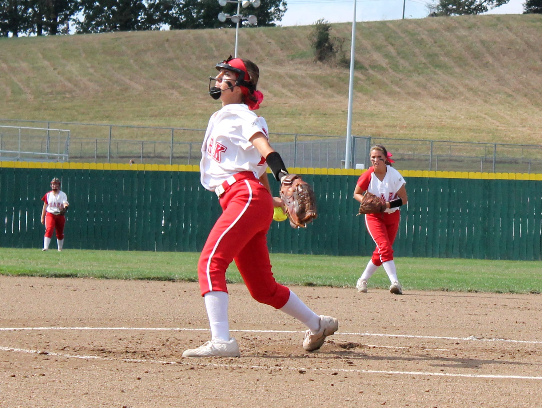 Ozark pitcher Brooke Pidgen throws a pitch in a Class 4 quarterfinal playoff game against Blue Springs South.