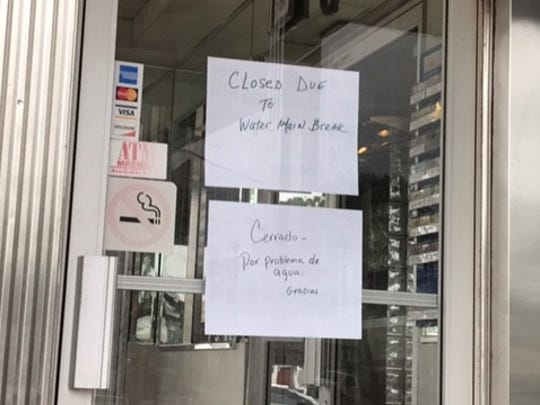 Businesses are without water and some are closed.
