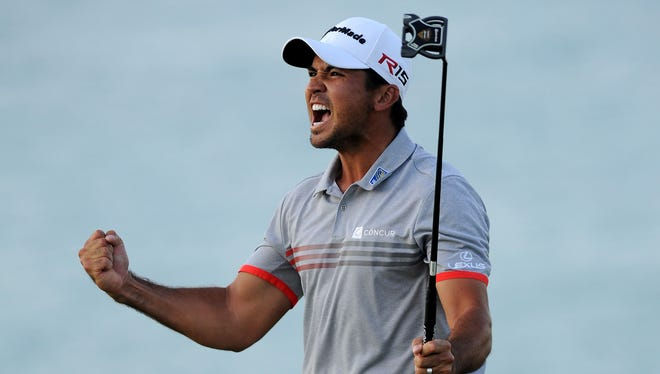 Jason Day reacts after making a birdie on the 17th hole during the third round of the PGA Championship golf tournament at Whistling Straits.