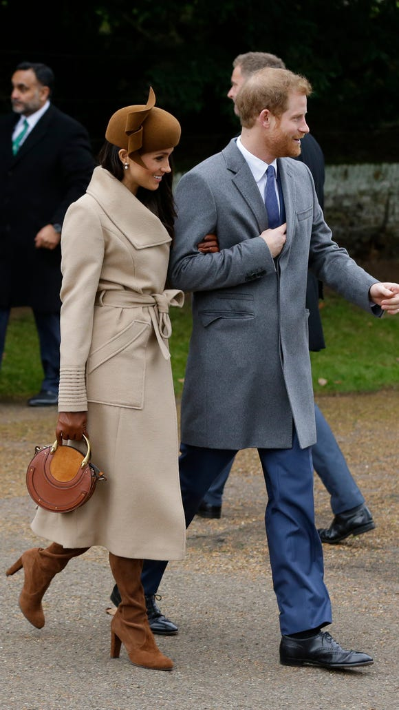 She walked with fiancee Prince Harry to the service.