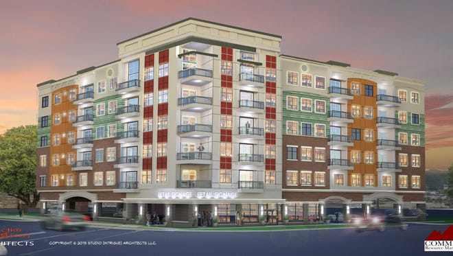 An architect's rendering of the White Oak Place development proposed for Grand River and Spartan avenues in East Lansing.
