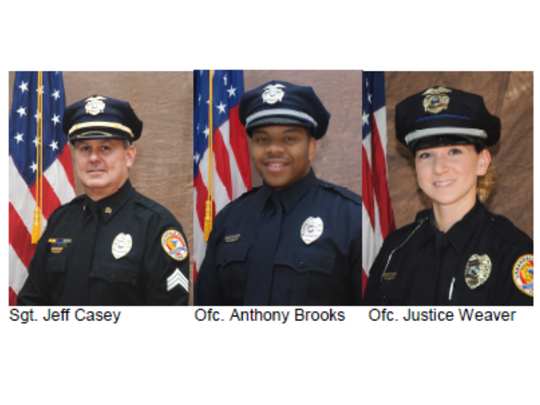Sgt. Jeff Casey, Officer Anthony Brooks and Officer Justice Weaver are on paid administrative leave after an officer-involved shooting.