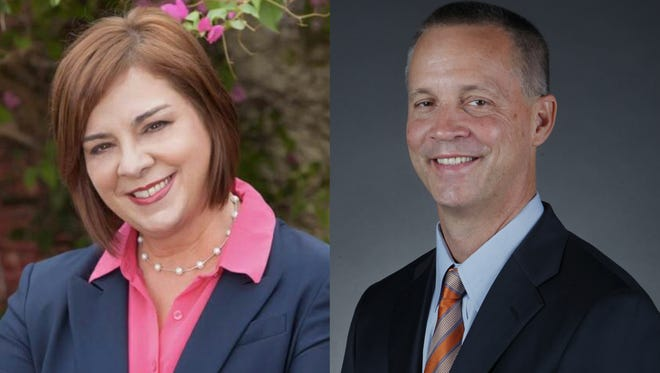 Democrat candidate April Freeman, left, and Republican candidate Curt Clawson.