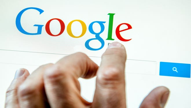 A person prepares to search the Internet using the Google search engine.