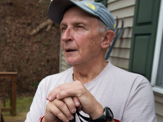 Tom Gross talks about one of his favorite hobbies, cross country skiing, at his home in Lower Windsor Township.