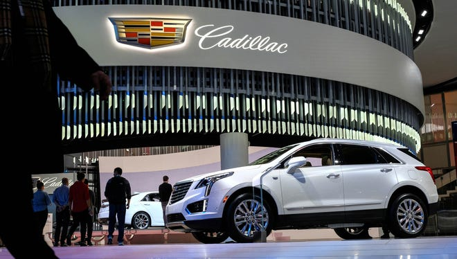 A 2018 Cadillac XT5 Platinum Edition is seen on display on Tuesday, January 16, 2018 during the 2018 North American International Auto Show at Cobo Center in Detroit.
