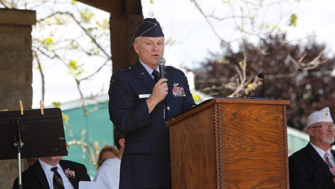 Air Force Brig. Gen. John P. McGoff reminds people that Memorial Day is for remember those who died defending the country.