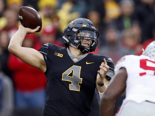 Nate Stanley (4) returns at quarterback for Iowa.