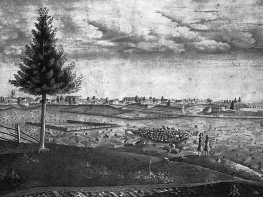 This 1857 view of Sheboygan was from a drawing by Johann O. Kroehnke. This perspective is from the hill near Sheridan Park, the first public square, and one of the highest points in the city. Shanghai Bridge at right, Roenitz Tannery and Gutsch Brewery farther left.