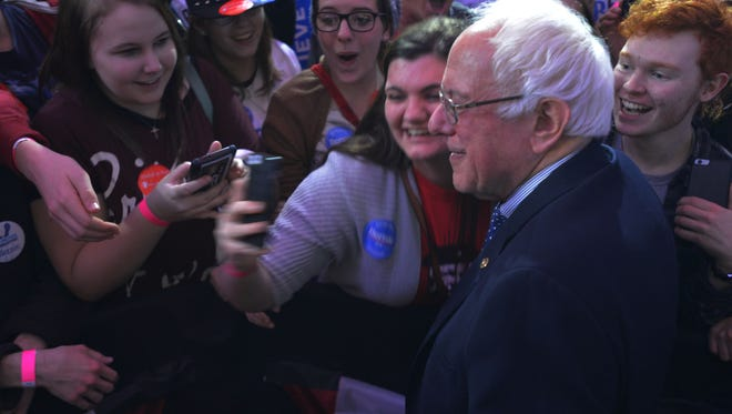 Selfie with the candidate - Bernie Sanders, after his speech on caucus night in Des Moines, Iowa, on Monday, Feb. 1, 2016.