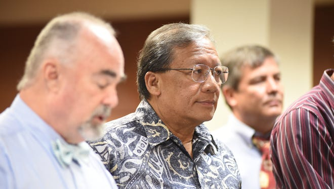 In this Aug. 23 file photo, David Sablan, former board chairman of the Guam Housing and Urban Renewal Authority, looks to the judge during his arraignment hearing at the Superior Court of Guam. Sablan, other former board members and the current executive director of GHURA pleaded not guilty to misdemeanor charges related to alleged secret meetings.