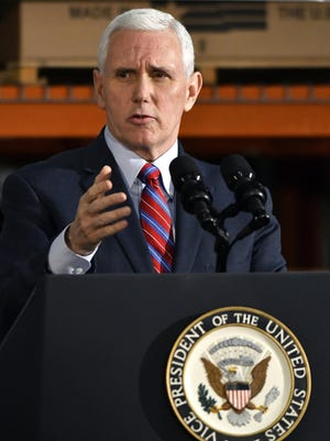 Vice President Mike Pence speaks Saturday at the Trane Parts and Distribution Center in Louisville, Ky. Pence said that the so-called Obamacare law had failed the nation and the Trump administration would need the backing of rank-and-file Republicans to pass their health care overhaul.
