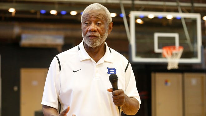 """Nolan Richardson Jr. speaks to Guillen Middle School students Friday morning. He lost his daughter, Yvonne, to leukemia in 1987 when she was 15 years old. """"Each new day is not promised,"""" he told the students. """"So make this the most important day of your life."""""""
