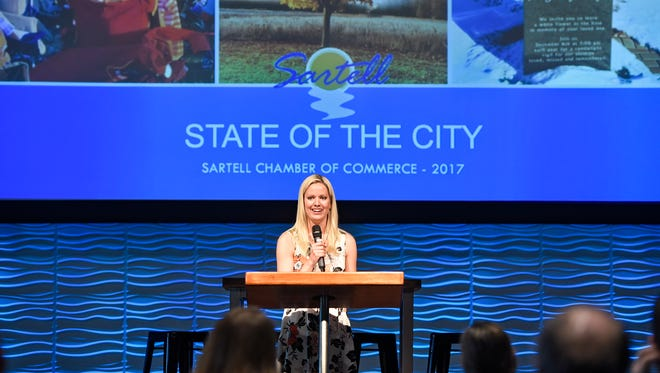 Sartell Mayor Sarah Jane Nicoll speaks during a State of the City address Tuesday, May 9, at The Waters Church in Sartell.
