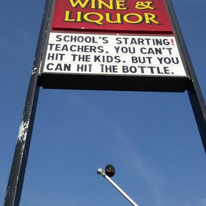 Caesar's Wine and Liquor store created a sign that
