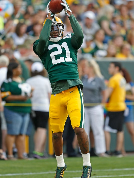 Green Bay Packers free safety Ha Ha Clinton-Dix makes a catch during the Family Night practice of NFL football training camp Saturday Aug. 2, 2014, in Green Bay, Wis. (AP Photo/Matt Ludtke)