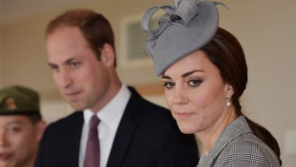 British royal officials say Prince William and his wife, Kate, are traveling to the United States next month on a trip that includes visits to the National September 11 Memorial and an NBA basketball game.