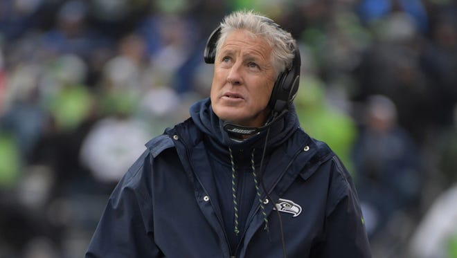 Seattle Seahawks head coach Pete Carroll reacts during an NFL football game against the Washington Redskins at CenturyLink Field.
